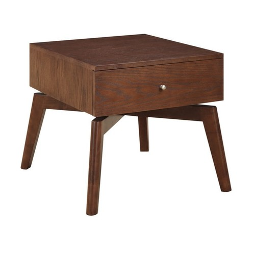 Emerald Home Furnishings Coffee, Console, Sofa & End Tables Studio Warm Maple Mid-Century Modern X Base End Table