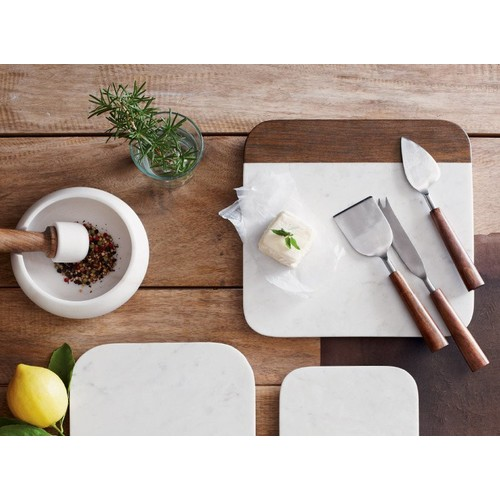 Aldo Marble Cheese Knives & Cheese Board - Marble Cutting Board -Square [Option one : Marble Cutting Board -Square]