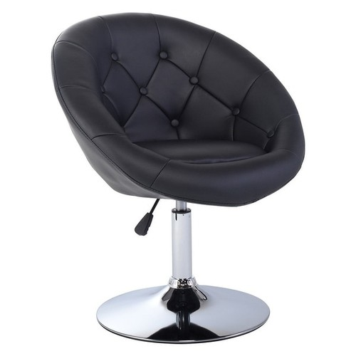 Costway 1PC Adjustable Modern Swivel Round Tufted Back Accent Chair PU Leather Black