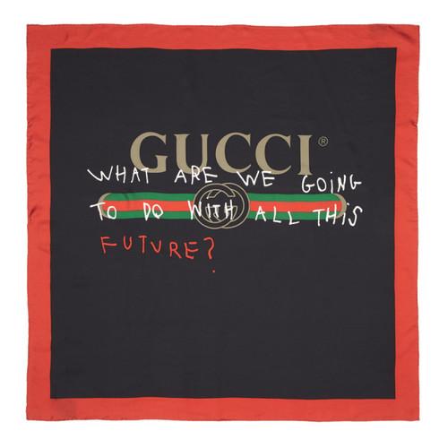 GUCCI Black & Red Silk 'Future' Logo Scarf