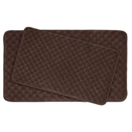 BounceComfort Massage Espresso 20 in. x 32 in. Memory Foam 2-Piece Bath Mat Set