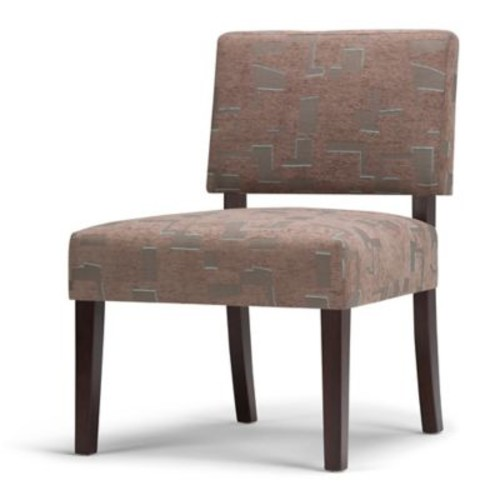 Simpli Home Virginia Accent Chair with Brown Mid-Century Print