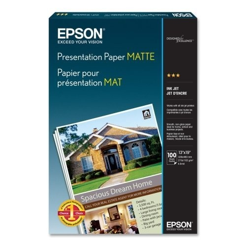 Epson S041069L Matte Presentation Paper, 27 lbs., Matte, 13 x 19 (Pack of 100 Sheets)