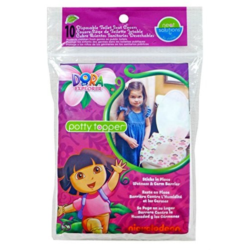 Neat Solutions Dora the Explorer Potty Topper Disposable Stick-in-Place Toilet Seat Covers, 10-Count [10 Count]