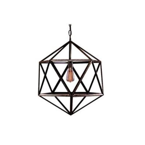 Warehouse of Tiffany Caged 1-Light Black Steel Chandelier
