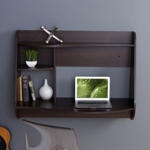Prepac Kurv Espresso Desk with Shelves