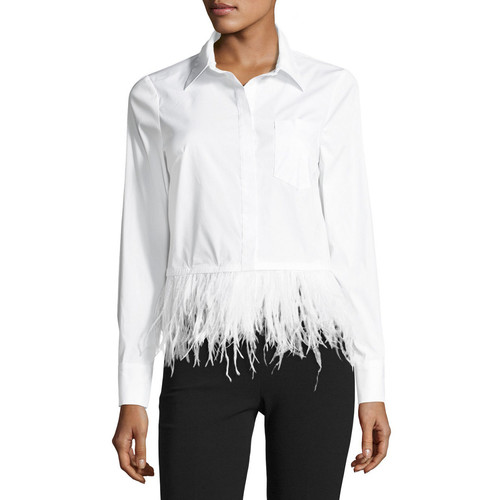 MILLY Cross-Dyed Shirting Blouse W/ Detachable Ostrich Feather Hem