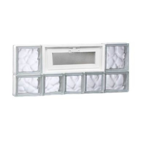 Clearly Secure 32.75 in. x 13.5 in. x 3.125 in. Vented Wave Pattern Glass Block Window