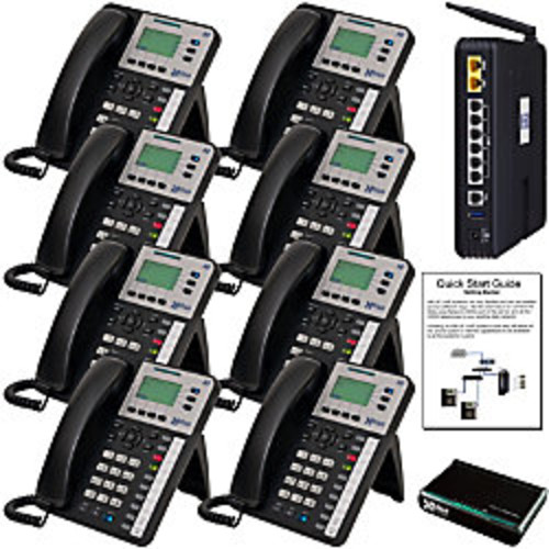 XBLUE X-50 VoIP Wi-Fi Telephone System With 8 X3030 IP Phones