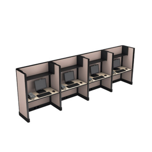 Cube Solutions Full Height Call Center Cubicles, Line of 4
