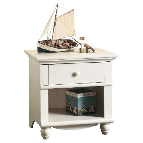 Harbor View Night Stand with Drawer and Storage Shelf - Antiqued White - Sauder