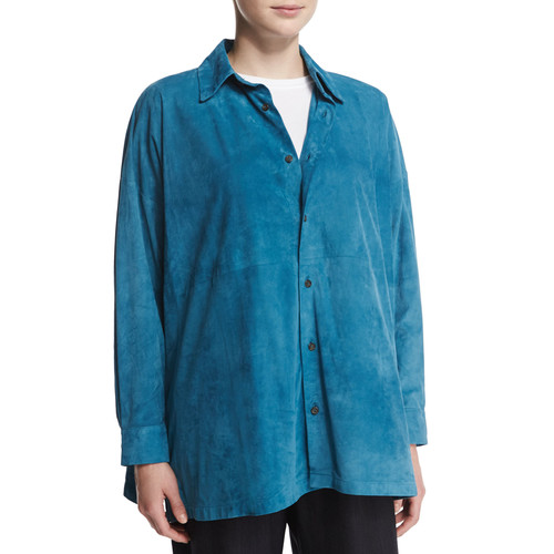 ESKANDAR Lightweight Suede Button-Down Shirt, Marine