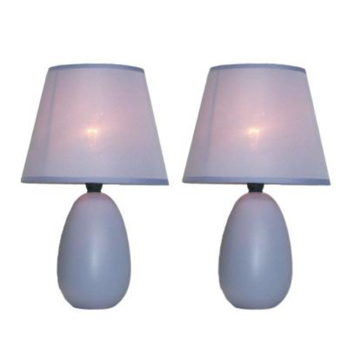Simple Designs 9 in. Mini Egg Oval Purple Ceramic Table Lamp (2-Pack)