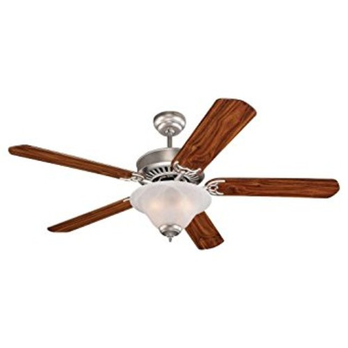 Monte Carlo 5QP52BPD-L Quality Pro Deluxe 52-Inch 5-Blade Ceiling Fan, Brushed Pewter Finish [Brushed Pewter Finish, American Walnut Blades, Frosted Glass]