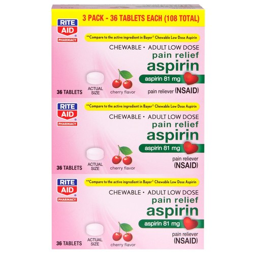 Rite Aid Pharmacy Aspirin, Adult Low Dose, 81 mg, Chewable Tablets, Cherry Flavor, Value Size, 3 - 36 tablet bottles 108 tablets
