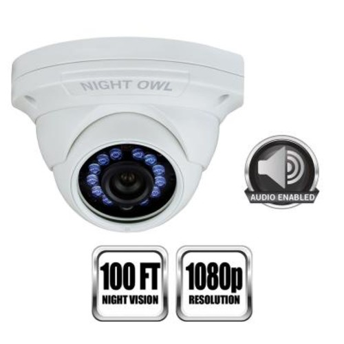 Night Owl 1 Pack Add - On 1080p HD Wired Security Dome Camera - Audio Enabled