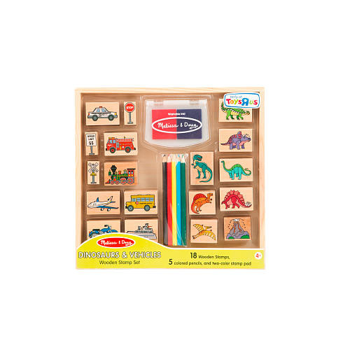 Melissa & Doug Dinosaurs and Vehicles Wooden Stamp Set