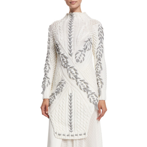 PRABAL GURUNG Long Two-Tone Cable-Knit Sweater, White