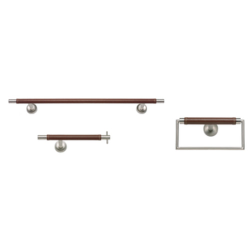 Stainless Steel and Leather 3-piece Bathroom Accessory Set