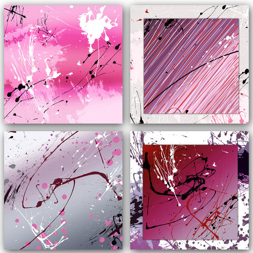 Abstract 4 Piece Painting Print Set