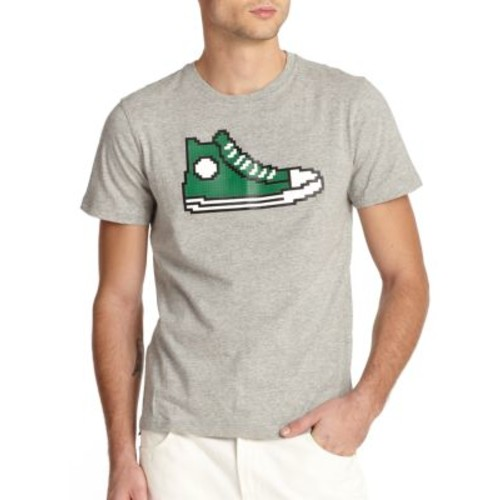 Pixellated Sneaker-Print Cotton Tee
