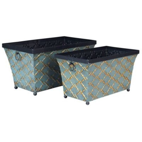 Household Essentials Gold Link Metal Storage Bins, 2 Piece Set, Green and gold (9717-1)