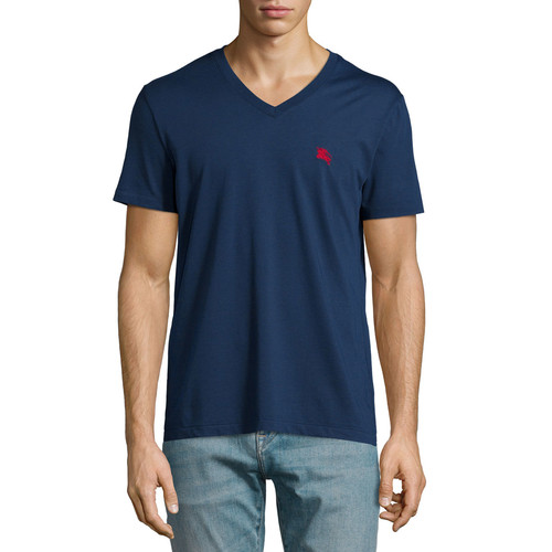 BURBERRY BRIT Lindon Cotton V-Neck T-Shirt, Navy