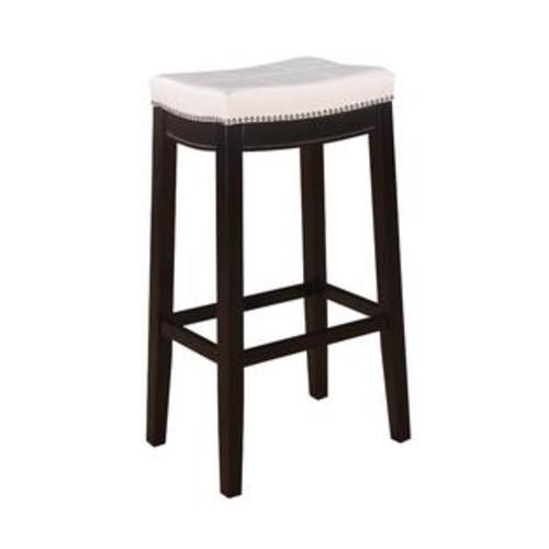 Linon Home Decor 55816WHTPU-01-KD-U Claridge Patches White Bar Stool