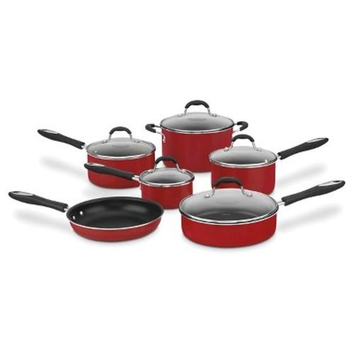 Cuisinart Advantage Nonstick 11 Piece Cookware Set w/cover - Red 55-11R