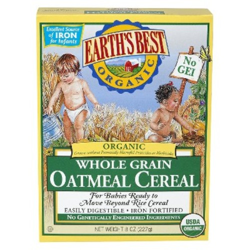 Earth's Best Organic Baby First Solid Food Whole Grain Oatmeal Cereal 8 oz