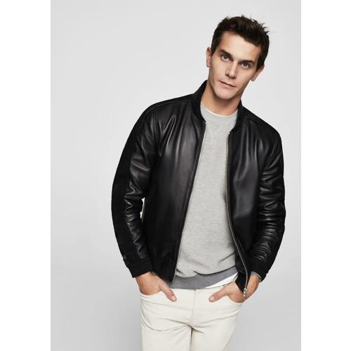 Pocketed leather bomber jacket