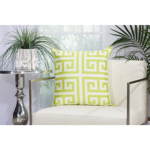 Mina Victory Greek Key 20 in. Apple Green Indoor and Outdoor Pillow