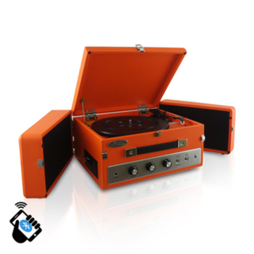 Pyle PTR8UBTBK Retro Vintage Classic Style Bluetooth Turntable Vinyl Record Player with USB/MP3 Computer Recording