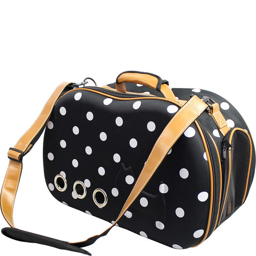 Pet Life Fashion Dotted Venta-Shell Perforated Collapsible Military Grade Designer Pet Carrier