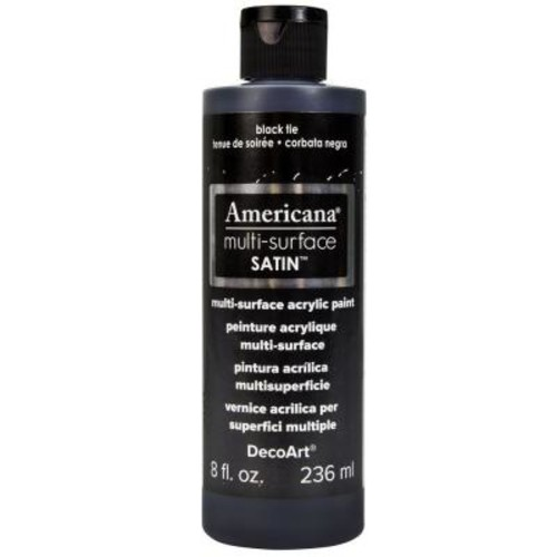 DecoArt Americana 8 oz. Black Tie Satin Multi-Surface Acrylic Paint