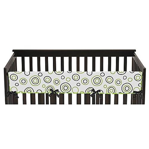 Sweet Jojo Designs Spirodot Long Crib Rail Guard Cover in Lime/Black