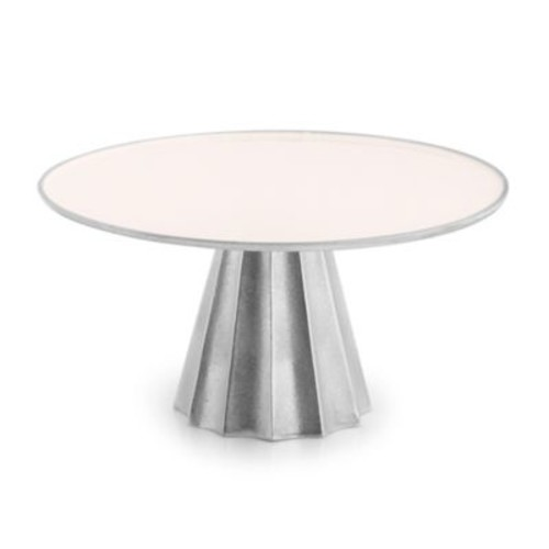 Marigold Artisans Fluted Footed Cake Stand in Silver/Ivory
