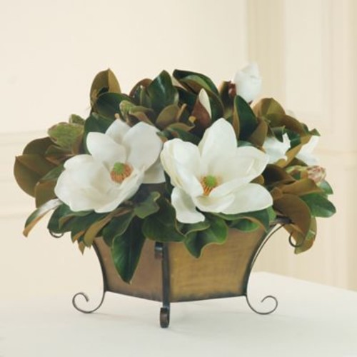 Winward Silks Magnolia Centerpiece in Metal Footed Vase