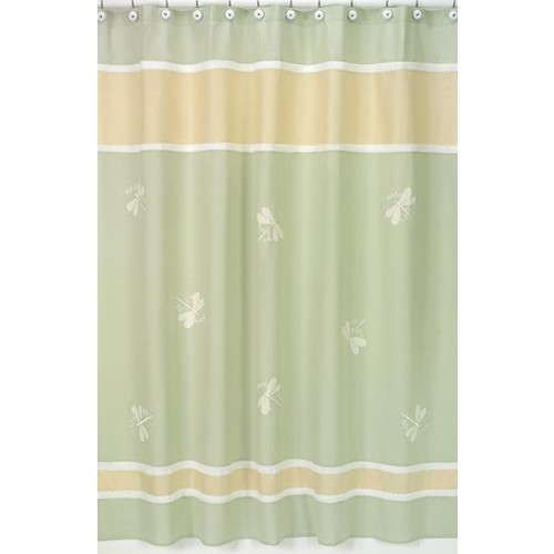Sweet Jojo Designs Green Dragonfly Dreams Collection Shower Curtain