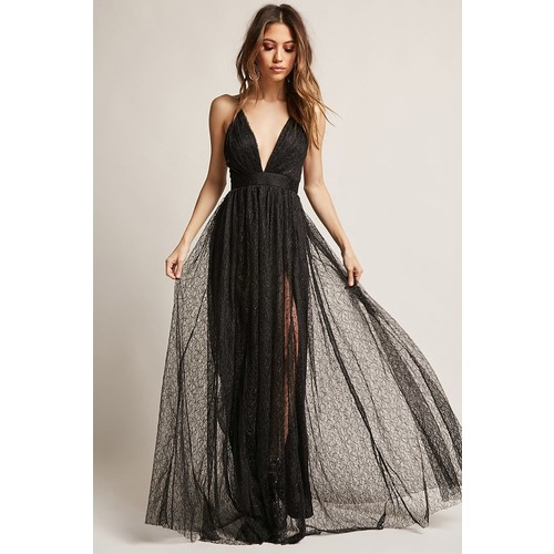 Plunging Mesh Maxi Dress