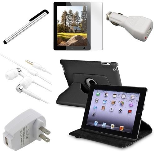 INSTEN 6 in 1 Black 360 Rotating Leather Case Film Charger Headset for iPad 4 3 Retina (Supports Auto Sleep/Wake)