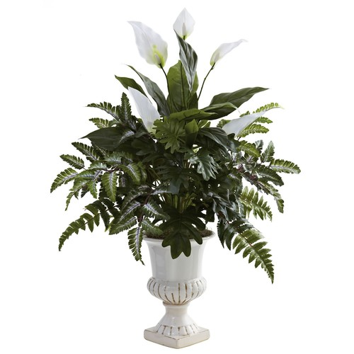 Nearly Natural Nearly Natural Mixed Greens and Spathyfillum with Decorative Urn