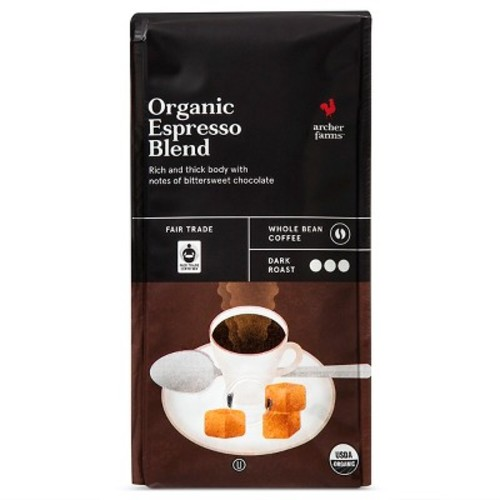Organic Espresso Blend Dark Roast Whole Bean Coffee - 10oz - Archer Farms