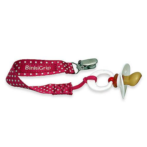 Booginhead PaciGrip Pacifier Holder in Pink Dot