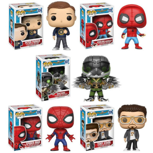 Funko Pop! Marvel: Spider-Man Homecoming Collectors Set; Peter Parker, Vulture, Spider-Man Proto, Spider-Man, Tony Stark Kitty Tee