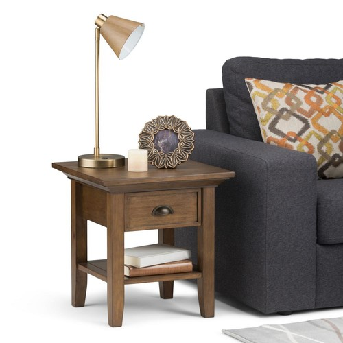Simpli Home Redmond Rustic Natural Aged Brown Storage End Table