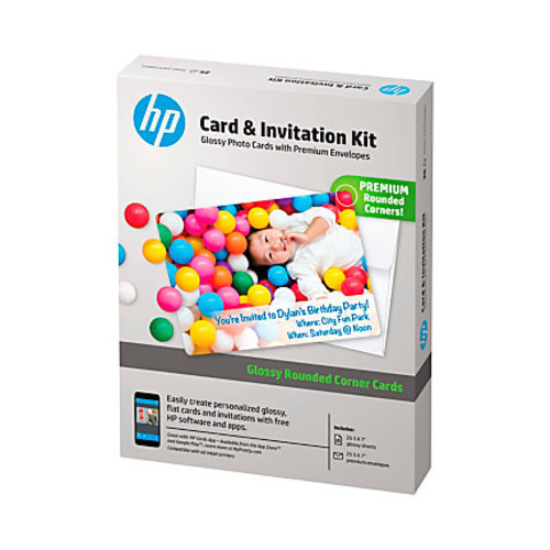 HP Advanced Photo Paper Card & Invitation Kit, Rounded Corners, White