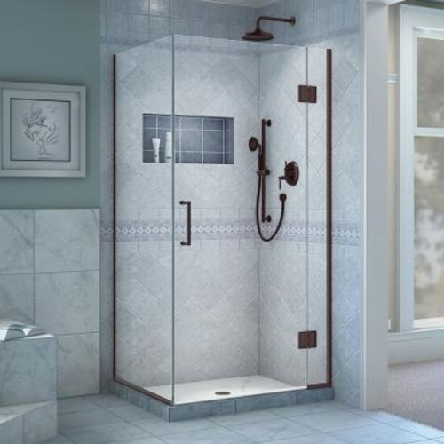 DreamLine Unidoor-X 29-3/8 in. x 34 in. x 72 in. Frameless Hinged Shower Enclosure in Oil Rubbed Bronze