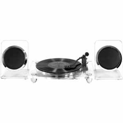 Victrola Modern Acrylic 2-Speed Bluetooth Turntable Wireless Speakers - Clear