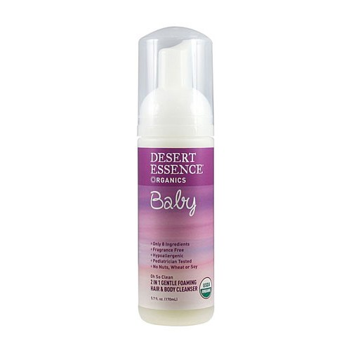 Desert Essence Baby 2 In 1 Gentle Foaming Hair and Body Cleanser Oh So Clean Fragrance Free 5.7 fl oz